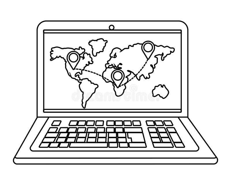 Lap-top που παρουσιάζει χάρτη σε γραπτό ελεύθερη απεικόνιση δικαιώματος