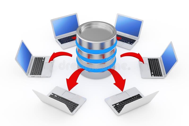 Lap-top που τακτοποιούνται σε έναν κύκλο γύρω από έναν κεντρικό υπολογιστή με το καμμένος κόκκινο AR διανυσματική απεικόνιση