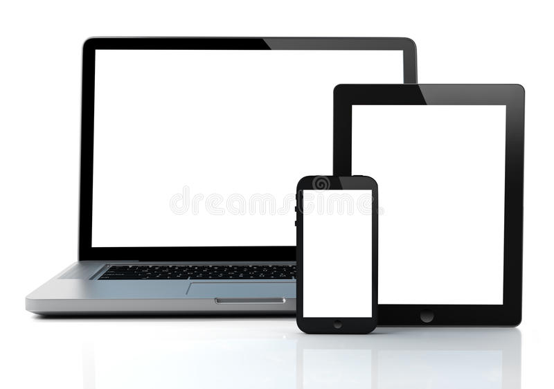 Lap-top, ταμπλέτα και smartphone απεικόνιση αποθεμάτων