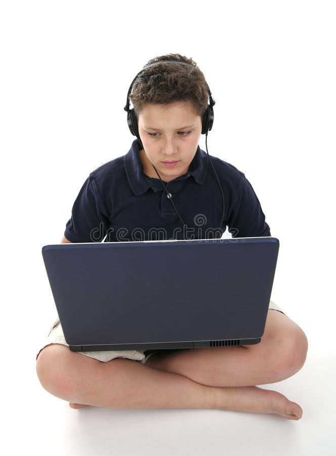 lap-top υπολογιστών αγοριών στοκ εικόνα με δικαίωμα ελεύθερης χρήσης