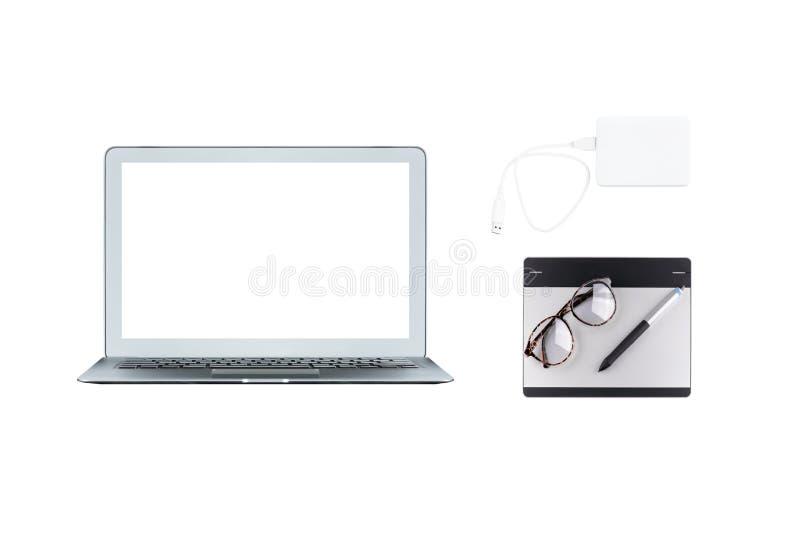 Lap-top υπολογιστών, γραφική ταμπλέτα και εξωτερικός σκληρός δίσκος στοκ εικόνες