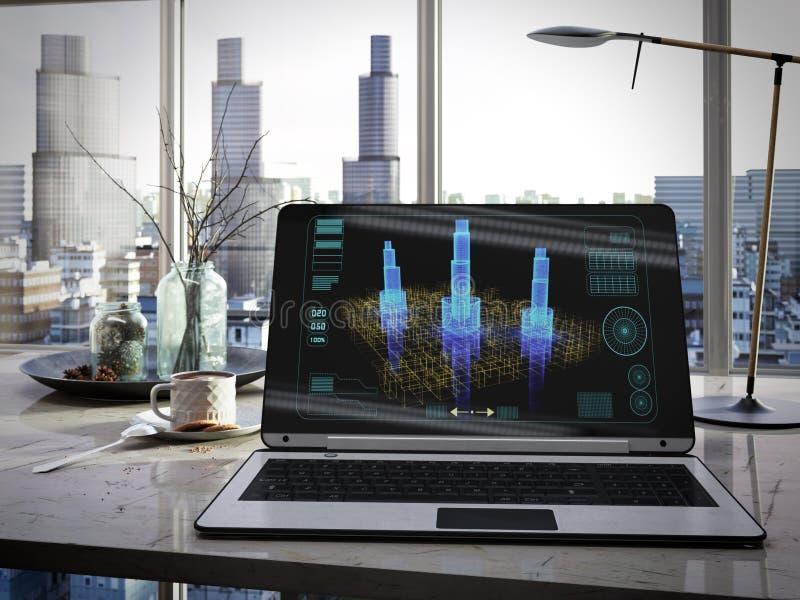 Lap-top, φλυτζάνι στον πίνακα στην έννοια προγράμματος αρχιτεκτονικής γραφείων στοκ φωτογραφία με δικαίωμα ελεύθερης χρήσης