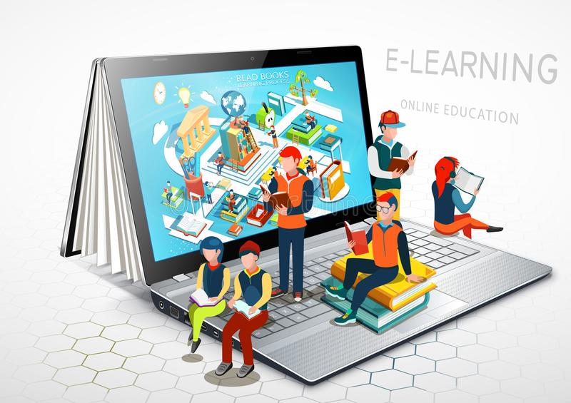 Lap-top ως βιβλίο μήλων ανασκόπησης ανοικτό λευκό εκμάθησης βιβλίων προσεκτικά απομονωμένο έννοια εκπαίδευση on-line διάνυσμα απεικόνιση αποθεμάτων