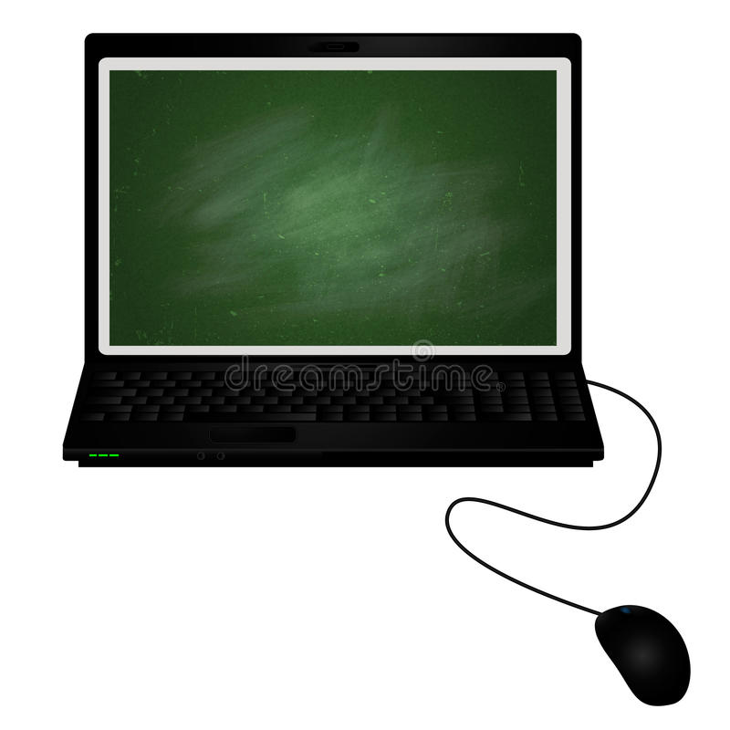 Lap Top With Chalkboard On The Screen Stock Photos