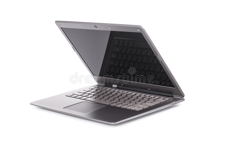 Lap top computer.Half opened. Lap top computer.Half opened isolated on a white background stock image