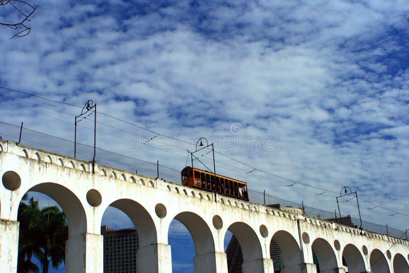 Lapa`s Arc 2. A cable car at Lapa`s Arc, Rio de janeiro - Brazil royalty free stock photos