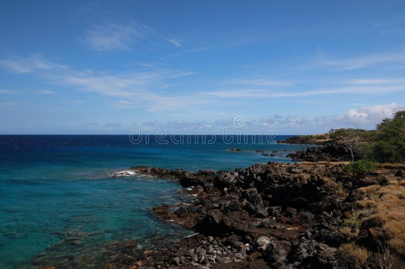 Lapakahi State Historical Park, Big Island, Hawaii,USA. Lapakahi State Historical Park, Big Island, Hawaii, beautiful, blue, coast, drive, foreign, gusty royalty free stock image