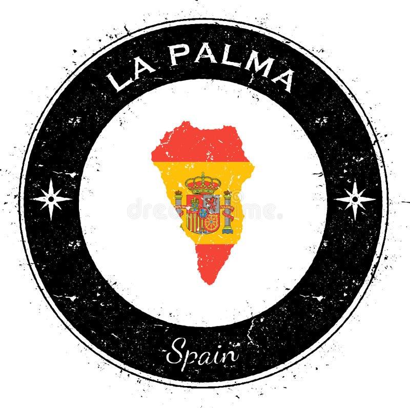 LaPalma runt patriotiskt emblem stock illustrationer