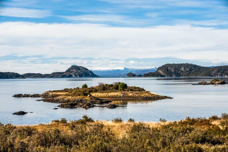 Lapataia zatoka w Tierra Del Fuego, Argentyna zdjęcie stock