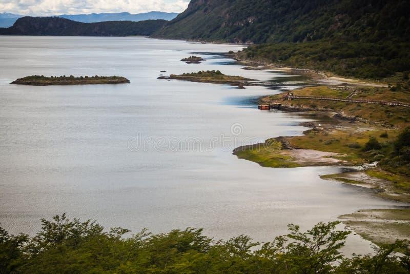 Lapataia zatoka w Tierra Del Fuego parku narodowym Ushuaia w Patagonia zdjęcia royalty free