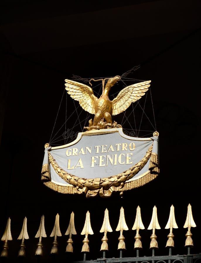 laphoenix för fenice guld- teater venice arkivfoto
