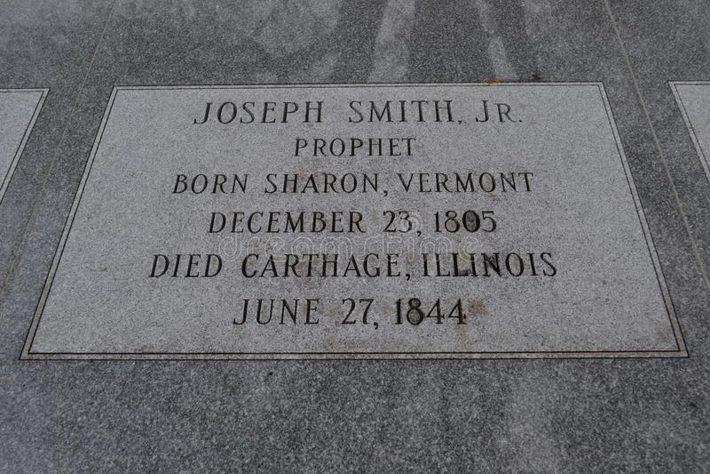 Lapide del junior di Joseph Smith Hyrum Smith e Emma Smith immagini stock libere da diritti