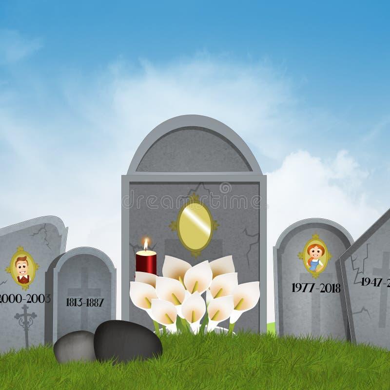lapidi del cimitero royalty illustrazione gratis