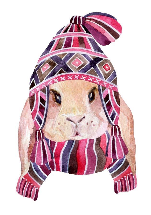 Lapin avec l'andscarf de chapeau d'hiver illustration de vecteur