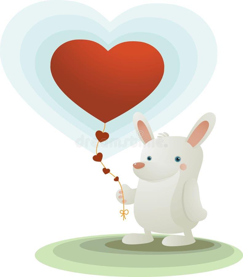 Lapin avec le ballon de coeur illustration stock