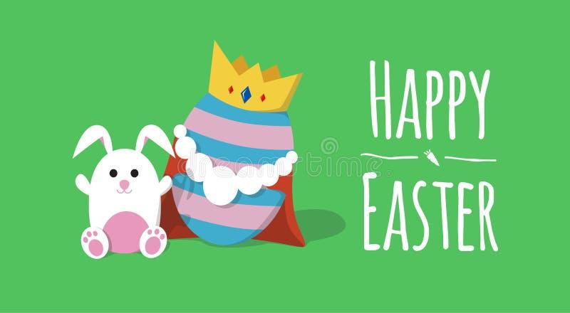 Lapin avec le roi de l'illustration heureuse de vecteur de ` de Pâques de ` d'oeufs image stock