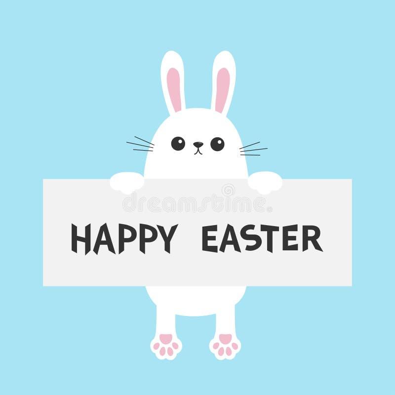 Lapin blanc accrochant sur le calibre de carton Joyeuses Pâques Paw Print Visage principal drôle Grandes oreilles Personnage de d illustration de vecteur