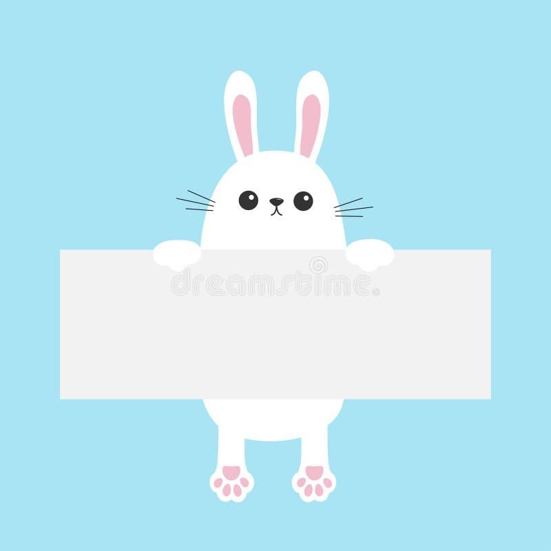 Lapin blanc accrochant sur le calibre vide de carton Joyeuses Pâques Paw Print Visage principal drôle Grandes oreilles Charact mi illustration libre de droits