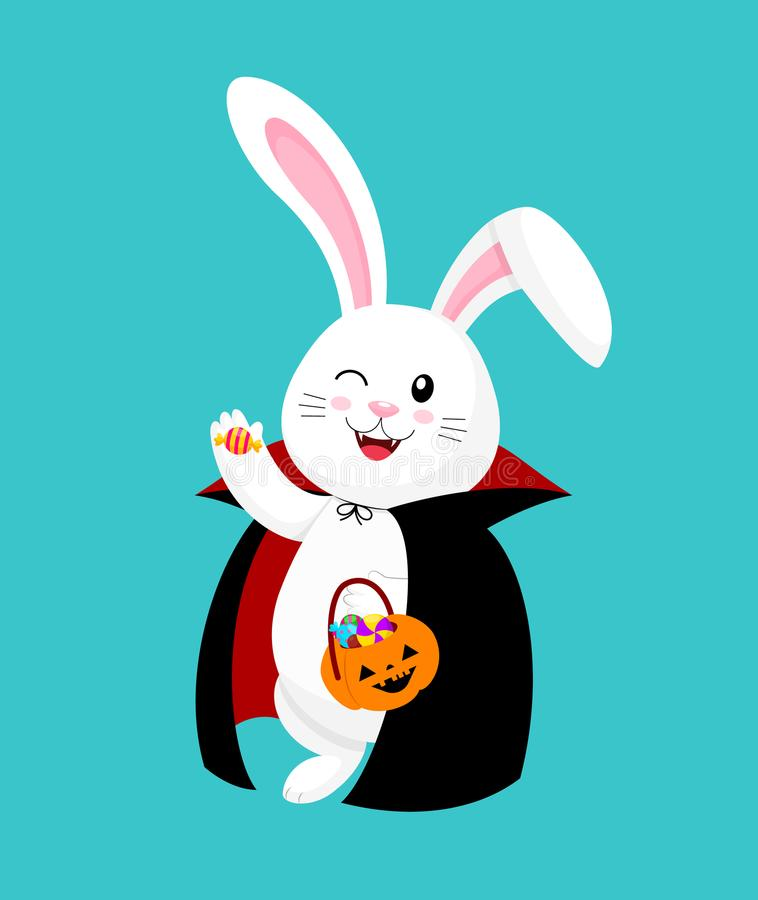 Lapin blanc de bande dessinée mignonne en jour heureux de Halloween de costume de Dracula illustration libre de droits