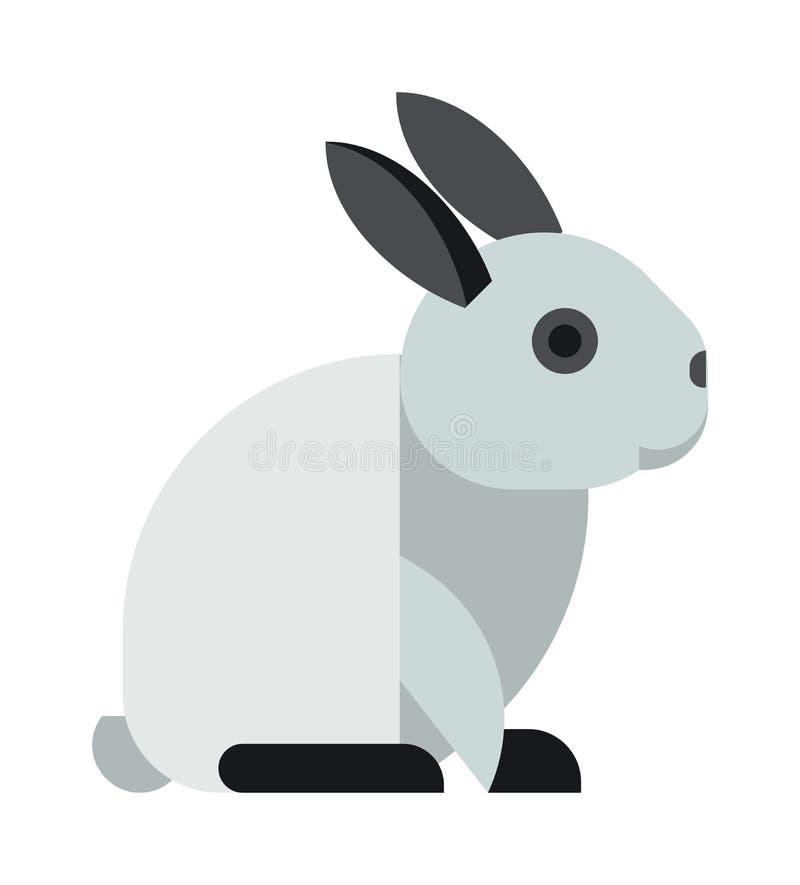 Lapin blanc de jouet reposant le vecteur animal mignon de bande dessinée illustration de vecteur