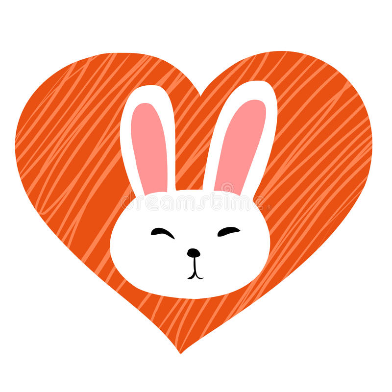 Lapin blanc mignon au coeur illustration de vecteur
