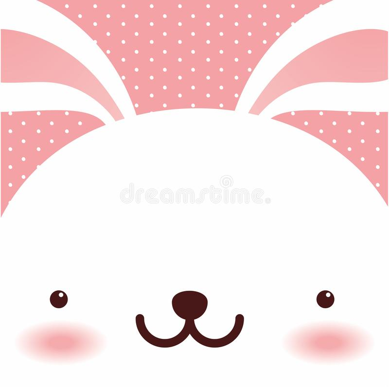 Lapin blanc mignon, carte de voeux heureuse de Pâques, vecteur illustration libre de droits