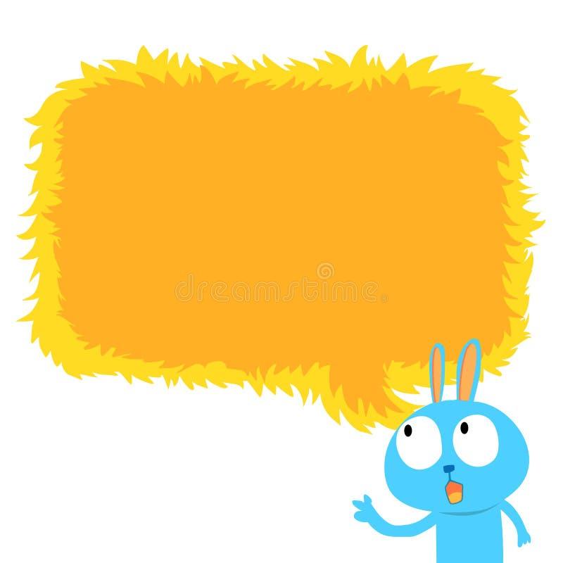 Lapin bleu avec la bulle jaune de la parole illustration libre de droits