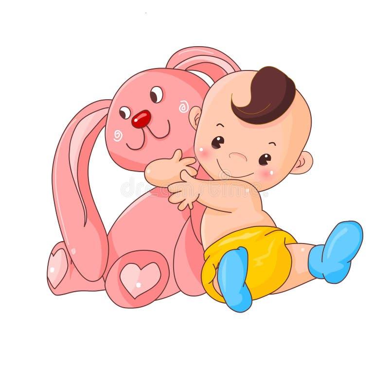 Lapin d'étreinte de bébé illustration stock