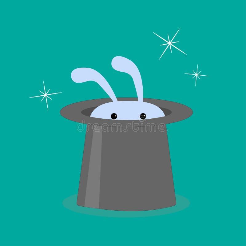 Lapin dans le chapeau magique. illustration stock
