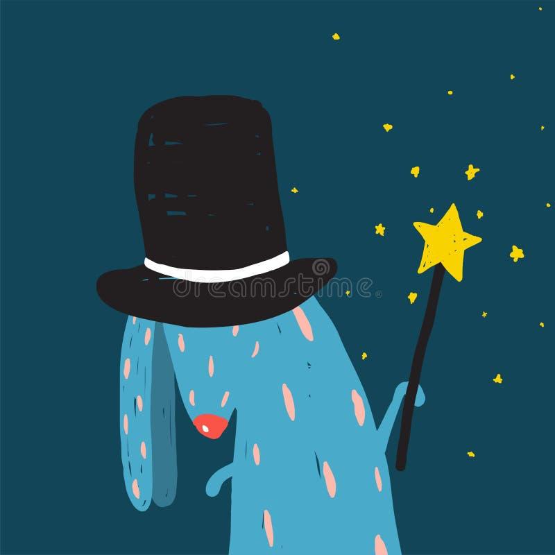 Lapin dans le chapeau noir faisant des tours avec la baguette magique magique illustration de vecteur