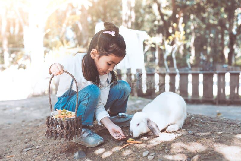 Lapin de alimentation de fille asiatique mignonne de petit enfant images libres de droits