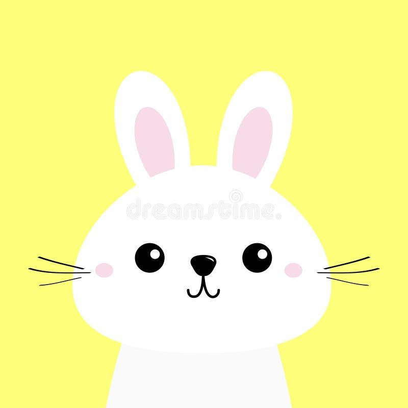 Lapin de lapin blanc Visage principal drôle de bébé Grandes oreilles Personnage de dessin animé mignon de kawaii Descripteur de c illustration de vecteur