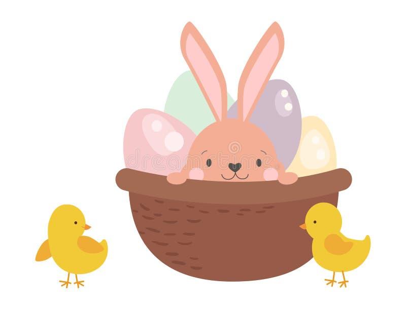 Lapin de caractère de lapin de Pâques dans le panier avec l'illustration réglée d'animal heureux mignon de vecteur d'oeufs illustration de vecteur