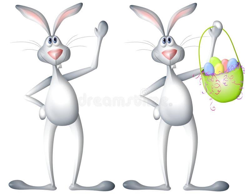 Lapin de lapin de Pâques de dessin animé avec le panier illustration stock