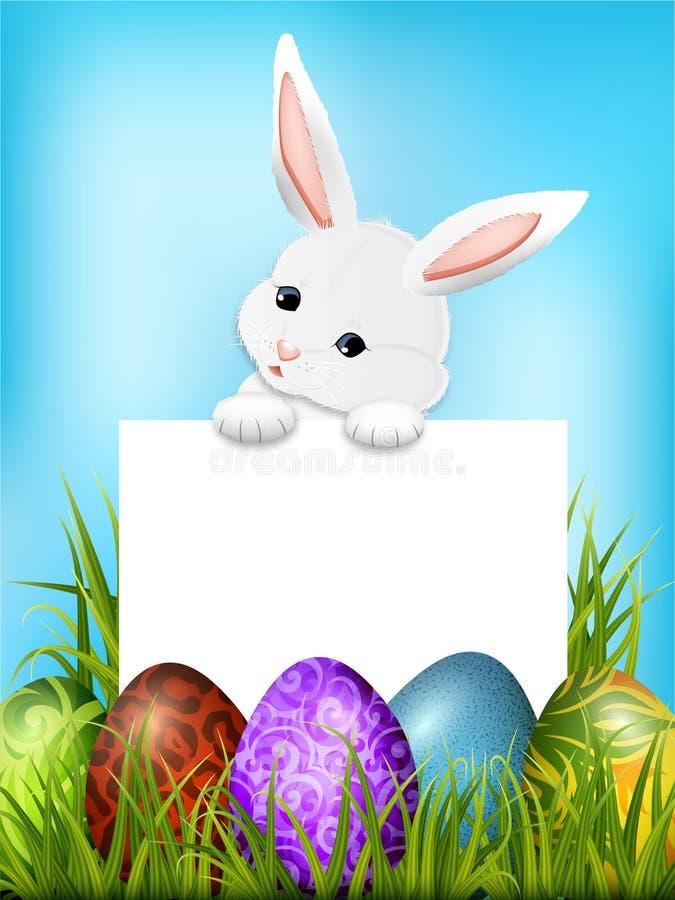 Lapin de Pâques adorable avec le papier vide Vecteur illustration de vecteur