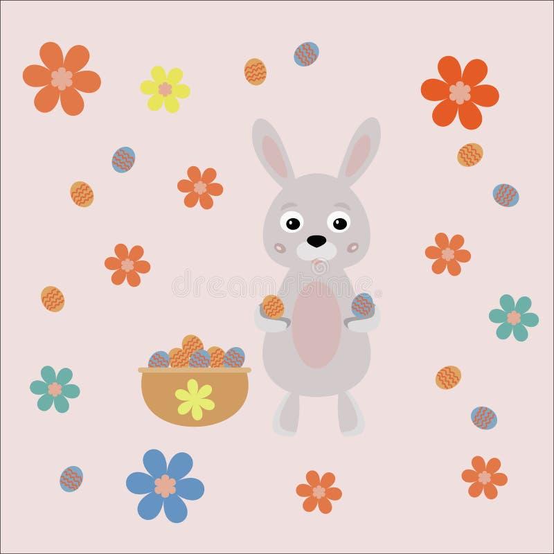 Lapin de Pâques avec des oeufs photo stock