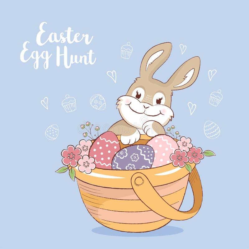 Lapin de Pâques avec la carte de voeux d'oeufs et de fleurs illustration libre de droits