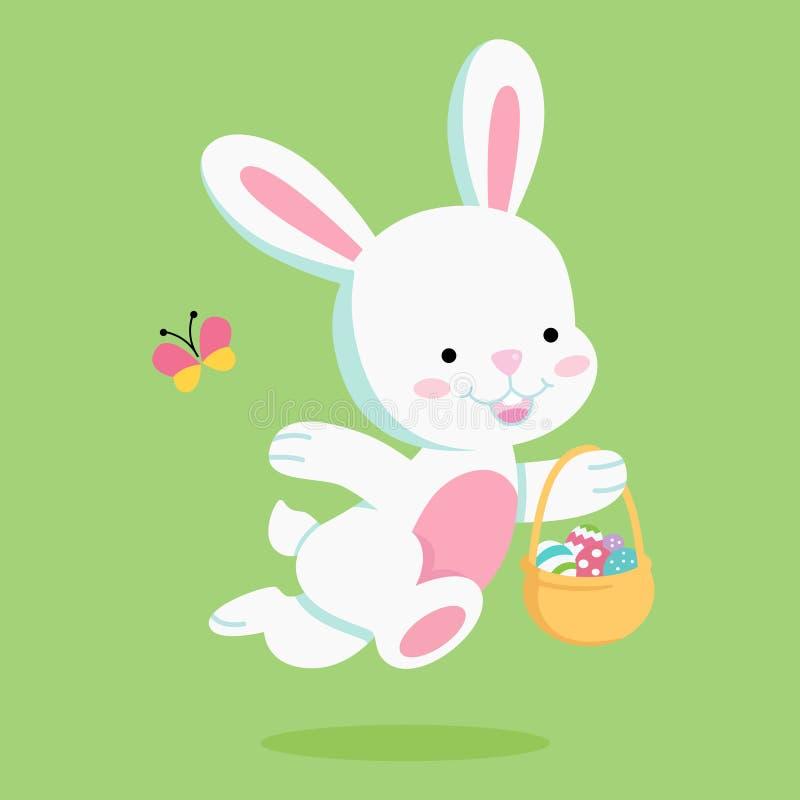 Lapin de Pâques avec le panier de Pâques illustration de vecteur