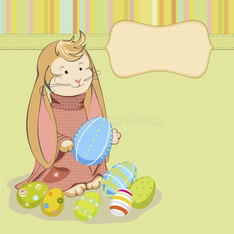 Lapin de Pâques avec les oeufs peints illustration stock