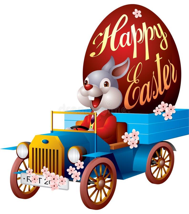 Lapin de Pâques dans l'automobile illustration de vecteur