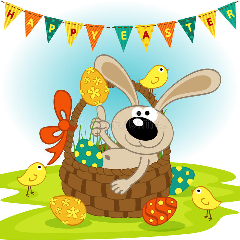 Lapin de Pâques dans le panier illustration libre de droits