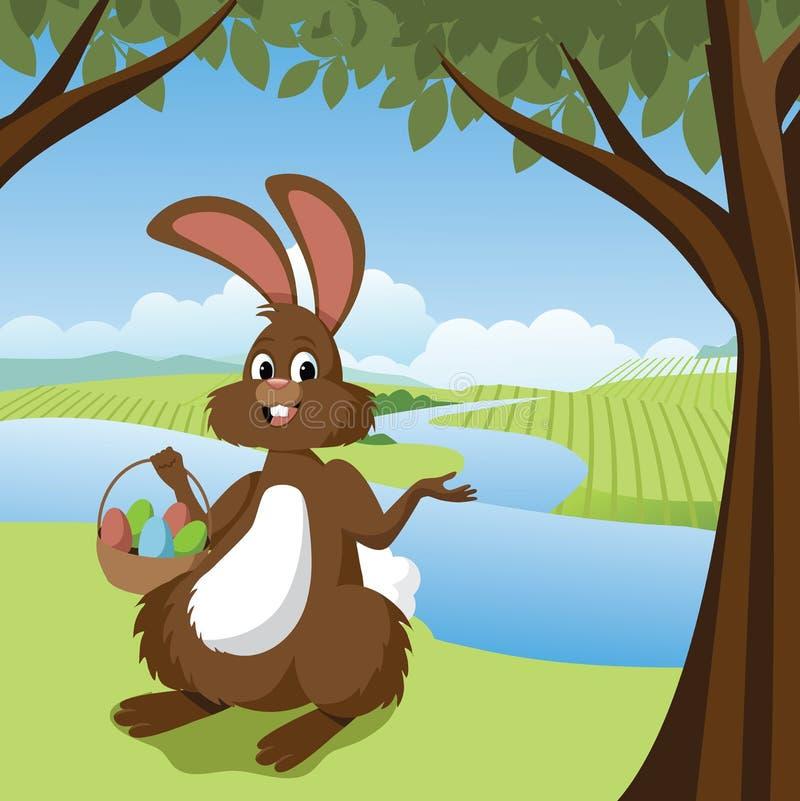 Lapin de Pâques en parc illustration de vecteur