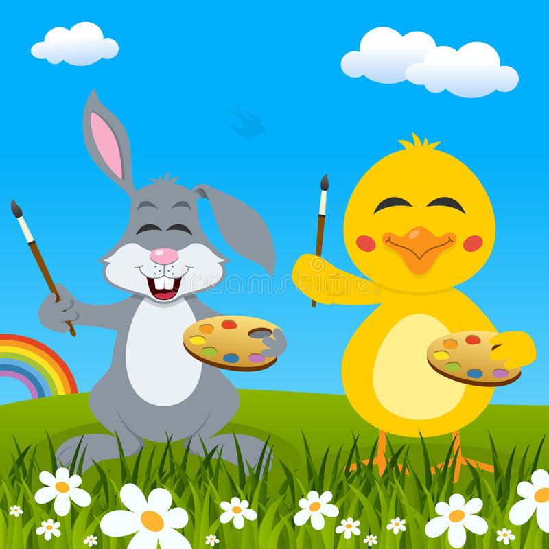 Lapin de Pâques et Chick Painters et arc-en-ciel illustration stock