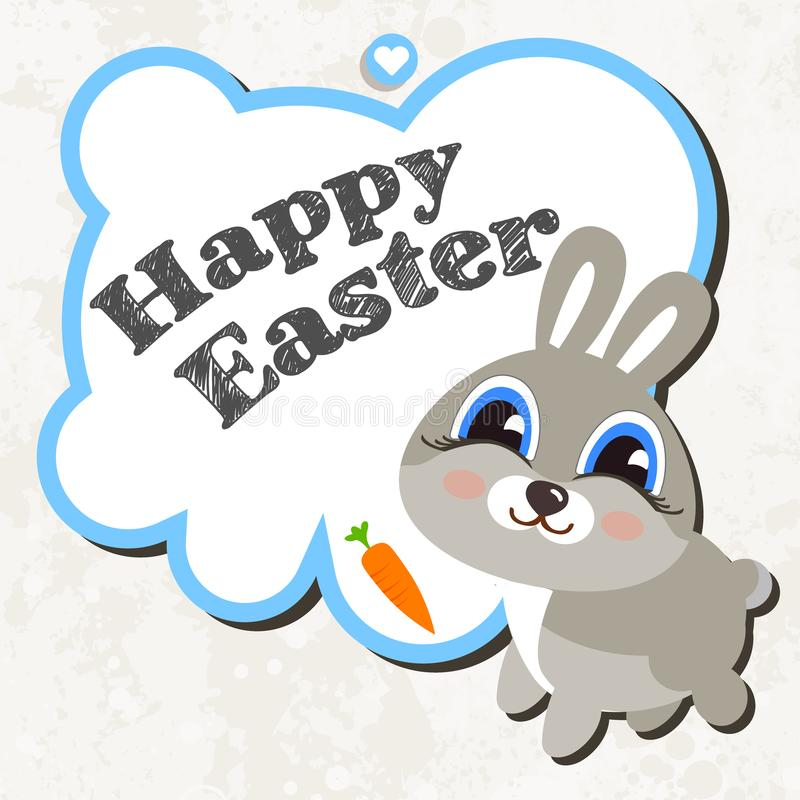 Lapin de Pâques heureux sur le fond blanc illustration libre de droits