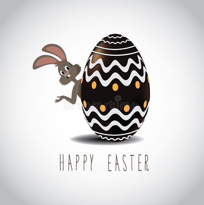 Lapin de Pâques jetant un coup d'oeil par derrière l'oeuf de pâques de chocolat illustration de vecteur