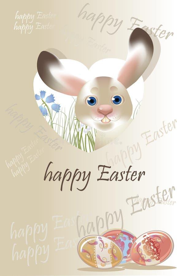 Lapin de Pâques, pastel de carte postale de ressort coloré illustration libre de droits