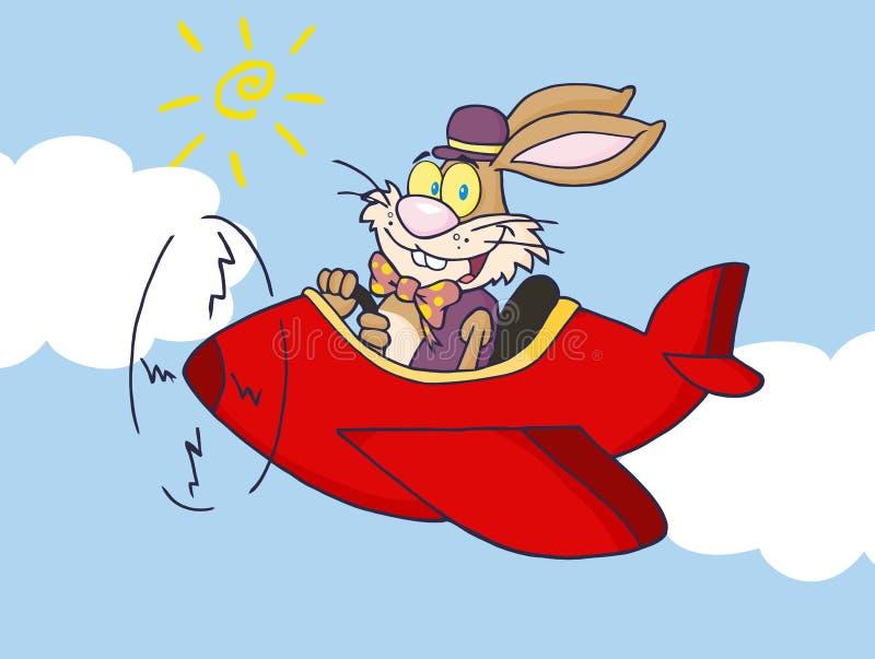 Lapin de Pâques pilotant un avion rouge illustration libre de droits