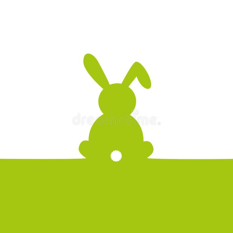 Lapin de Pâques vert d'isolement sur le fond blanc illustration de vecteur