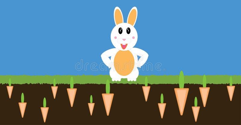 Lapin de PaperCut avec le champ de carotte illustration libre de droits