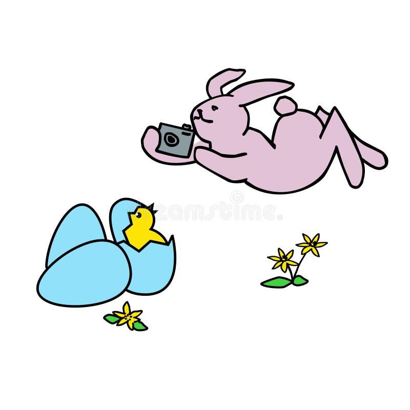 Lapin de photographe de Pâques de couleur Page de livre de coloriage pour des adultes et des enfants Illustration orientée de vec illustration libre de droits